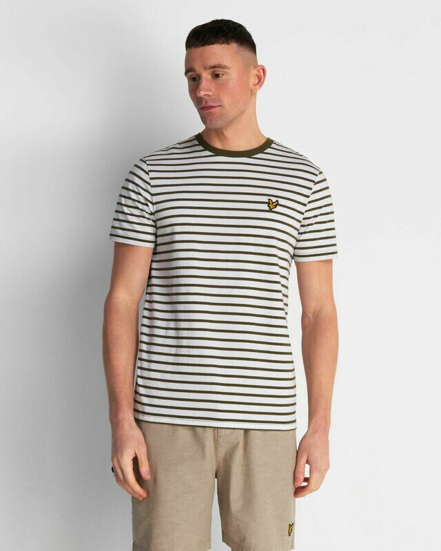Lyle & Scott | Breton Stripe T-Shirt - Lichen Green / White