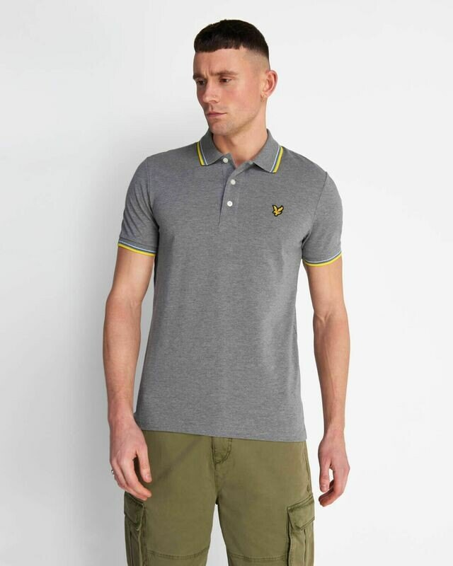 Lyle & Scott | Tipped Polo Shirt - Mid Grey / Buttercup-Yellow