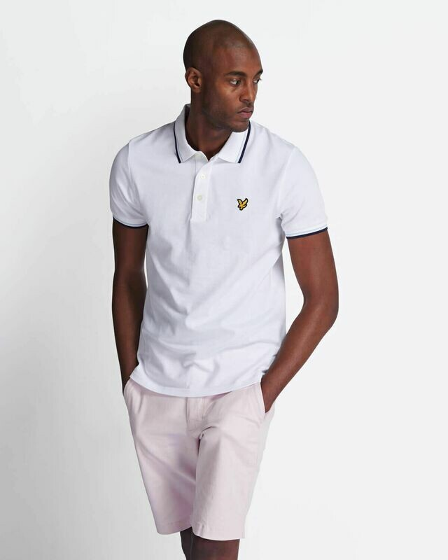 Lyle & Scott | Tipped Polo Shirt - White & Navy