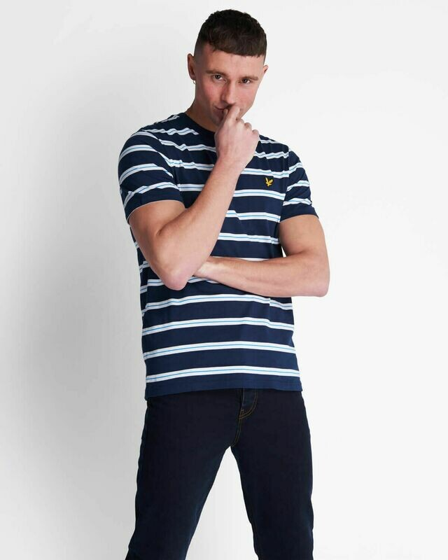 Lyle & Scott | Wide Double Stripe T-Shirt - Navy