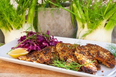 Herb and caper crumbed chicken schnitzel, chardonnay pickled cabbage | serves 2