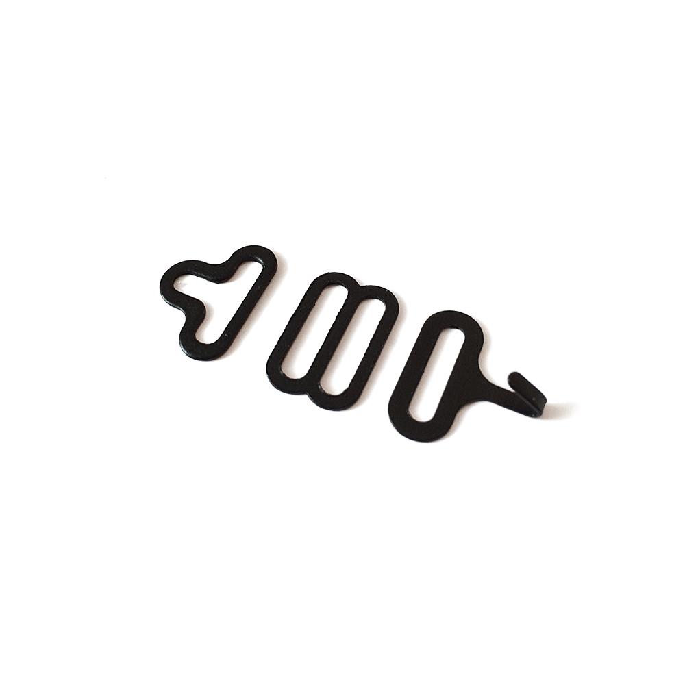 Комплектующие для галстуков-бабочек - 10 комплектов. Цвет - черный. Металлическая фурнитура 16 мм. Крючок, регулятор, петля. TBT-BowTiesHardware16mm-Black