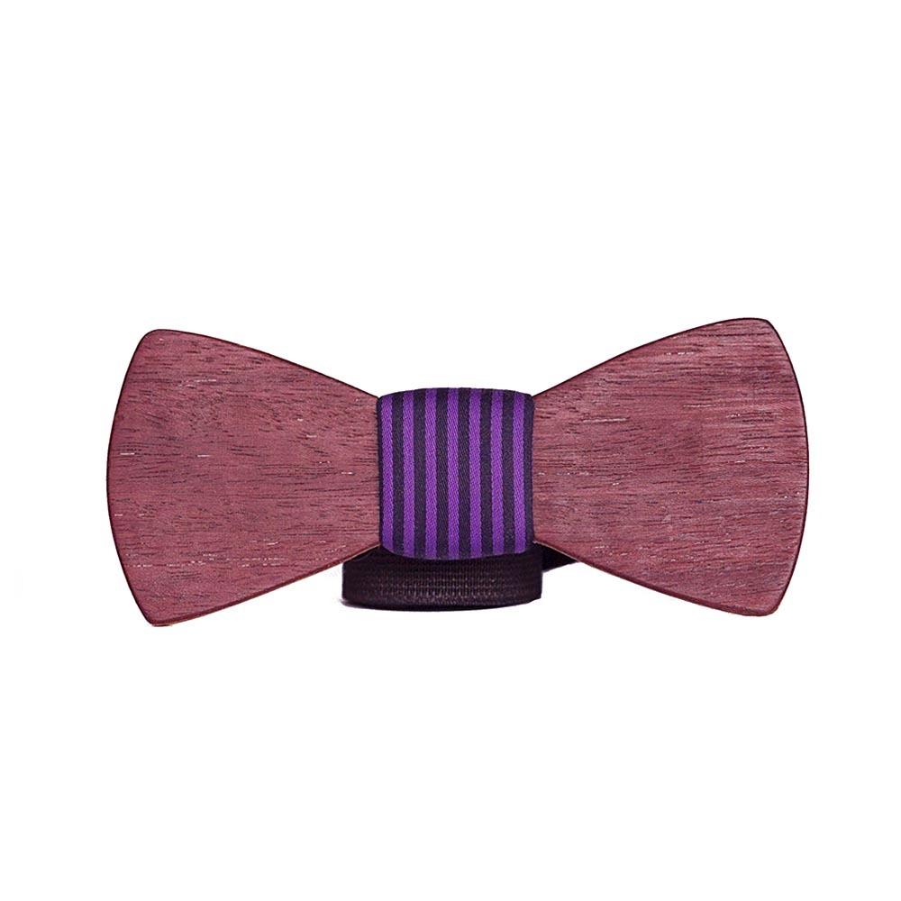 Мужской премиум галстук-бабочка из дерева Медведев Classic + фиолетовый платок для пиджака в полоску TBTP-MedvedevClassic