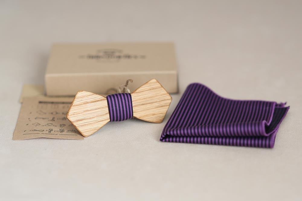 Деревянная галстук бабочка из дуба