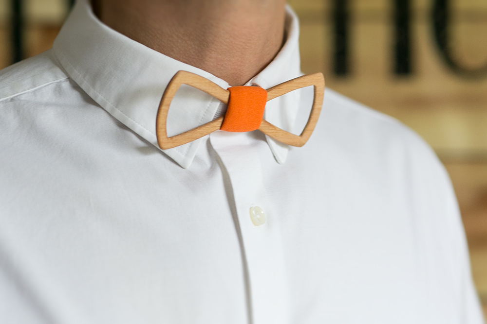 Мужской галстук-бабочка из дерева Fresh Air 3 + платок
