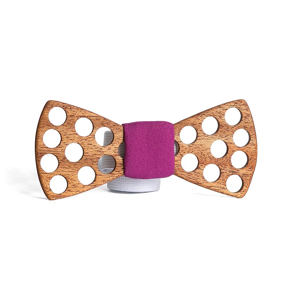 Мужская деревянная галстук-бабочка Polka Dot Фуксия + платок для нагрудного кармана пиджака TBT-PolkaDotFuchsia