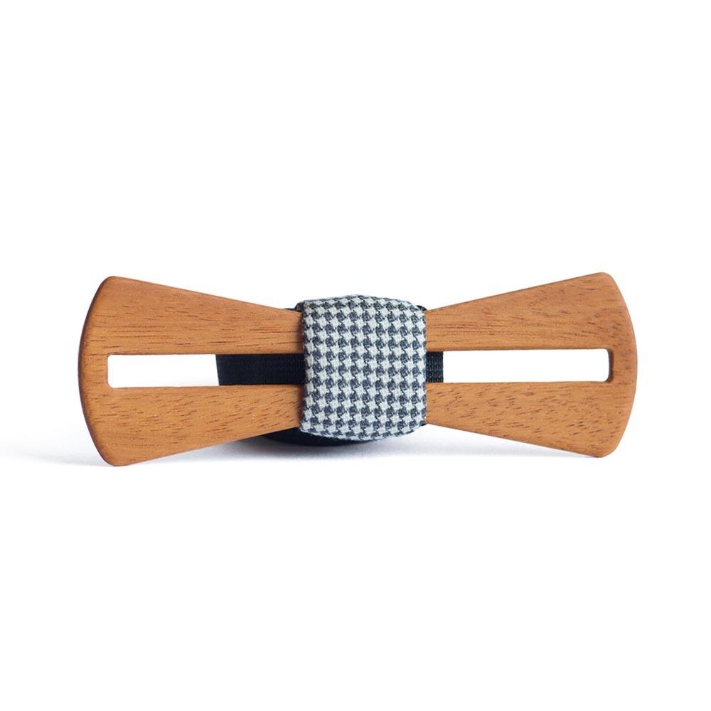Мужской галстук-бабочка из дерева Пётр Line Slim + платок TBT-PiterLineSlim