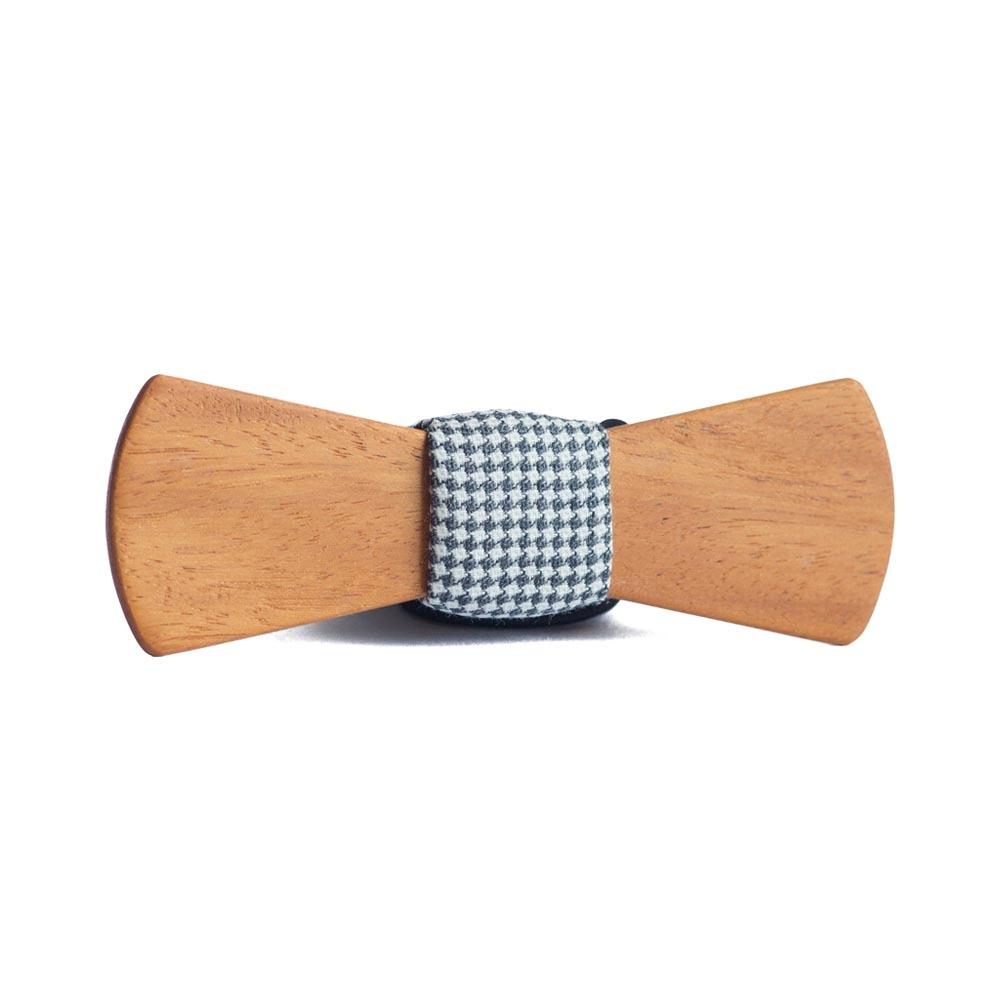 Мужской галстук-бабочка из дерева Пётр Slim + платок TBT-PiterSlim