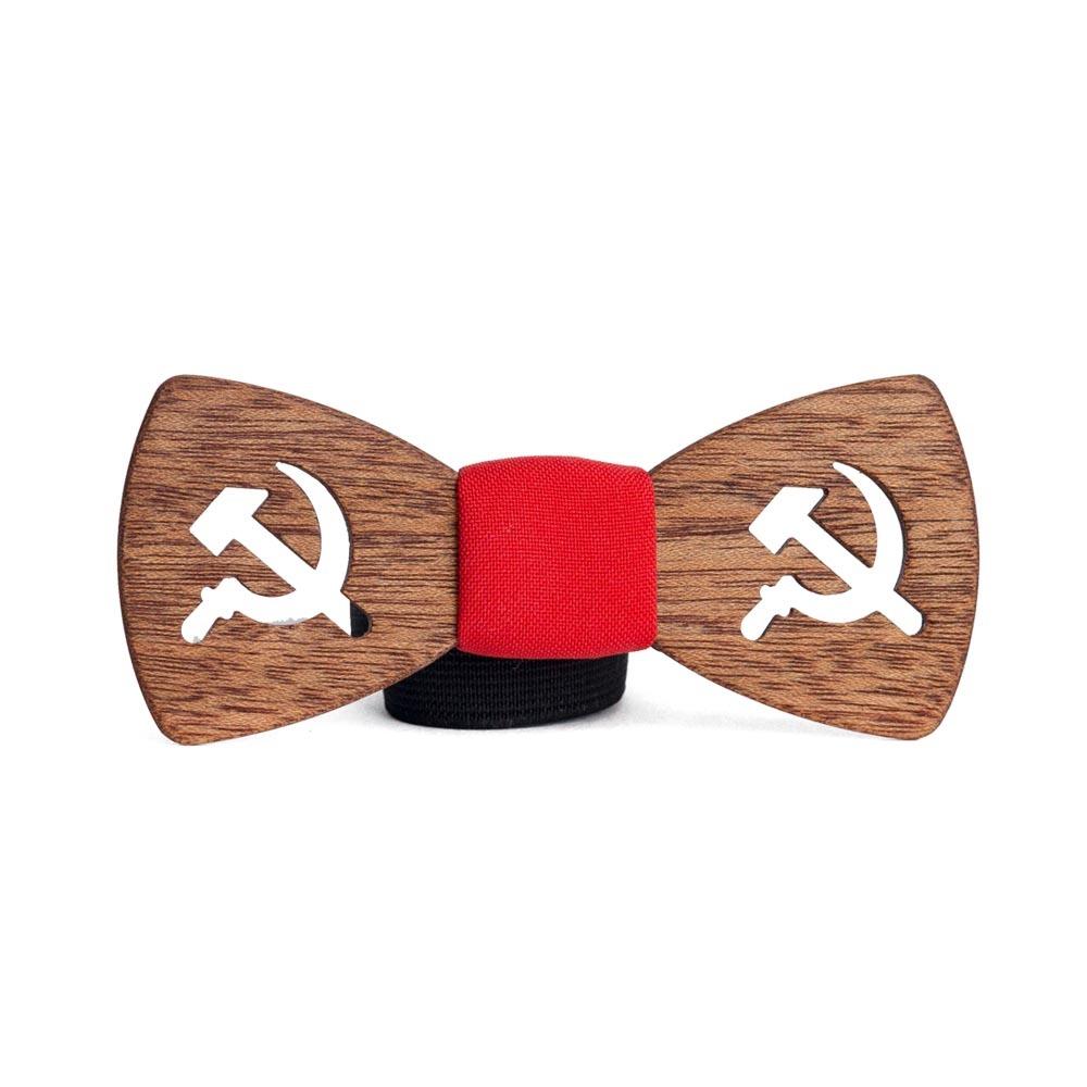 Мужской галстук-бабочка  из дерева Москва  + платок TBT-Moscow