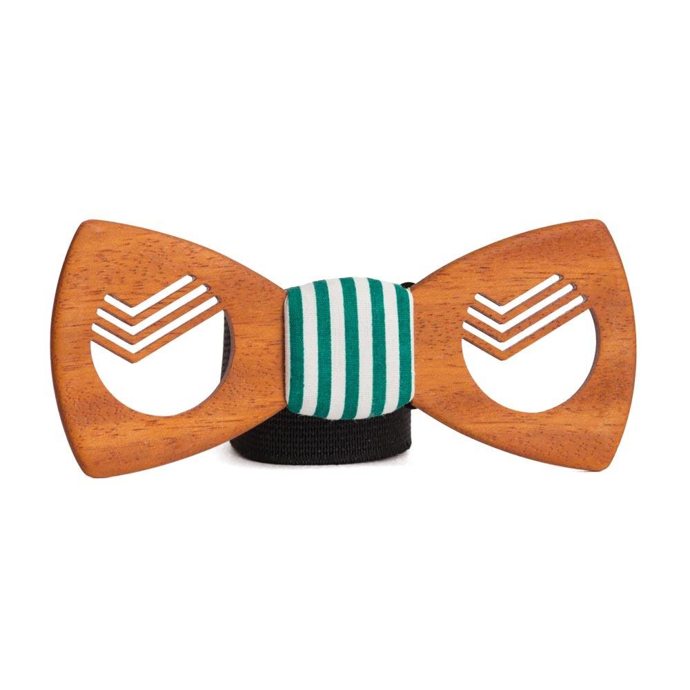 Мужская деревянная галстук-бабочка Для работника Сбербанка с платком для пиджака [+видео] TBT-GiftSberbank
