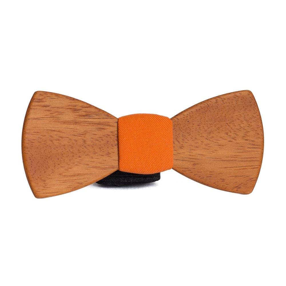 Мужской галстук-бабочка из дерева Роман Classic + оранжевый платок для пиджака TBT-RomanClassic