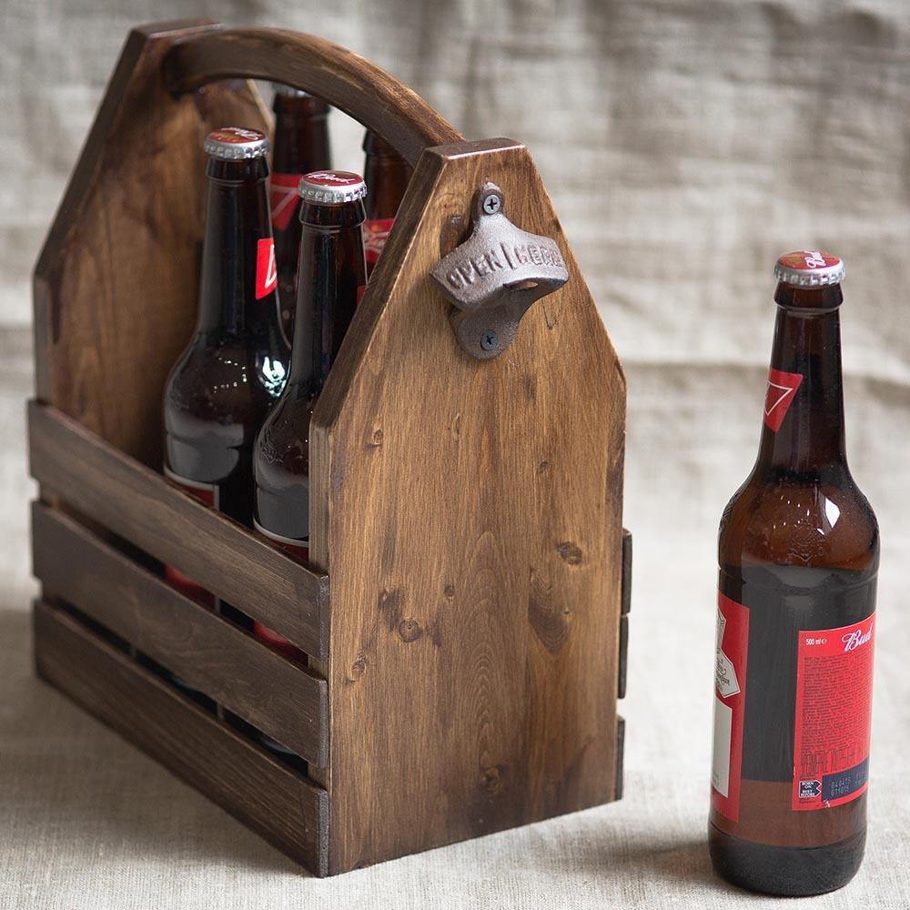Винтажная деревянная переноска на 6 бутылок. Решение для пикника или загородной поездки TW-PicnicBottle1