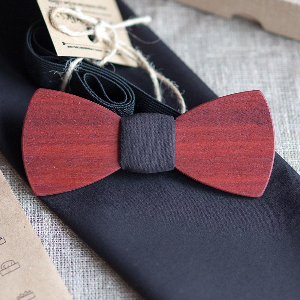 Мужской премиум галстук-бабочка из дерева Путин Classic + платок для пиджака TBTP-PutinClassic