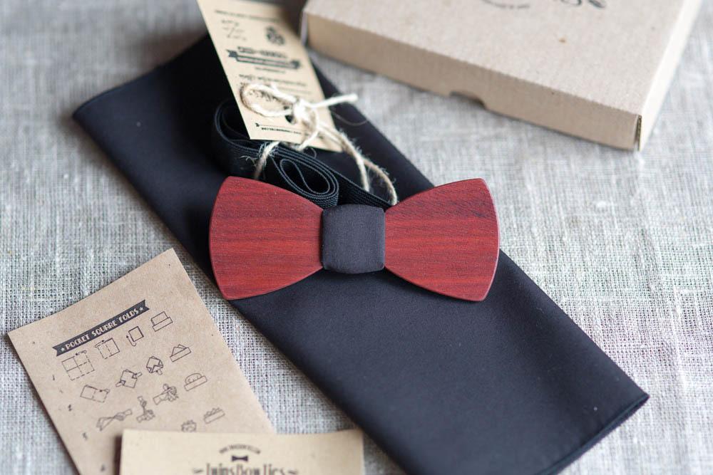Мужской премиум галстук-бабочка из дерева Путин Classic + платок для пиджака