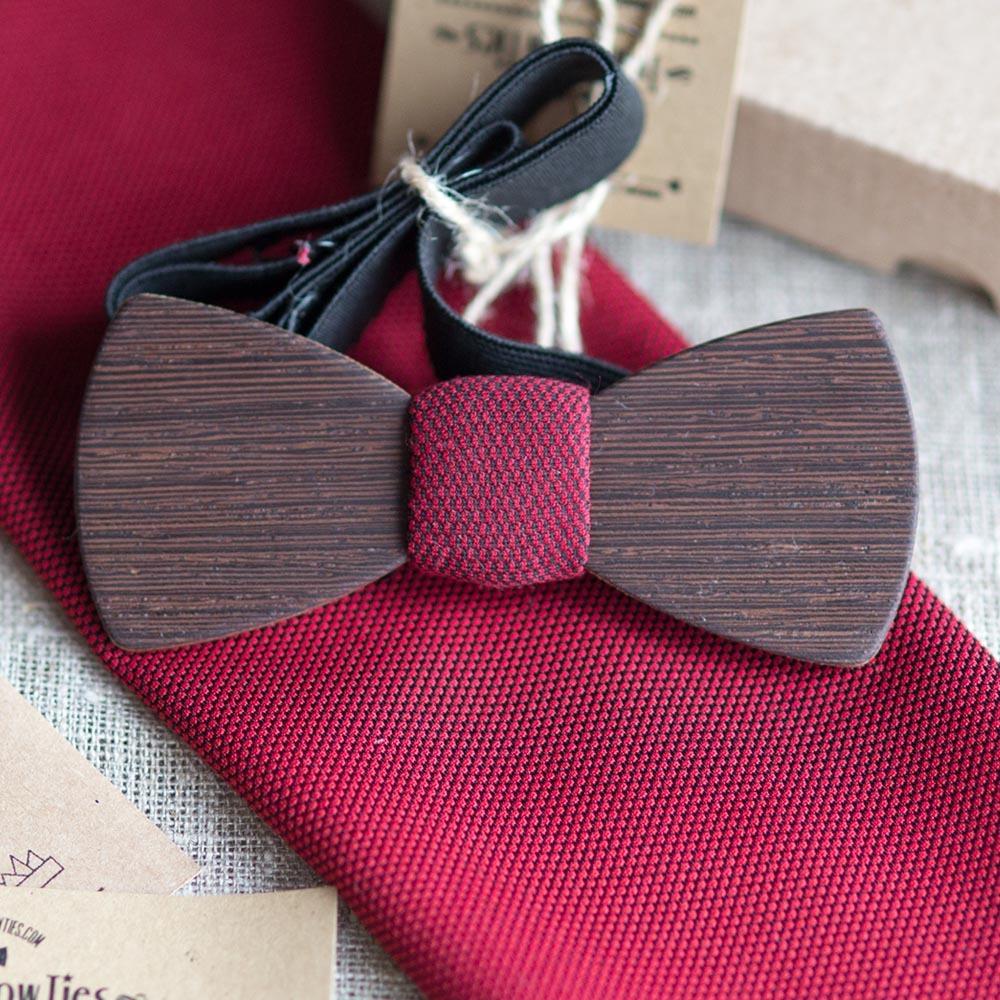 Мужской премиум галстук-бабочка из древесины венге Черчилль Classic + платок. TBTP-ChurchillClassic