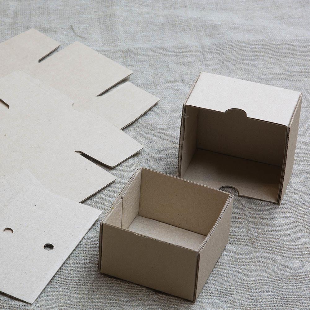 Коробка из микрогофрокартона В ЗАГОТОВКЕ (крышка, дно + два вкладыша). Упаковка для бижутерии, серег, запонок, колец, брошей, мелких товаров. Цвет - крафт. Эко стиль TW-CraftBox3