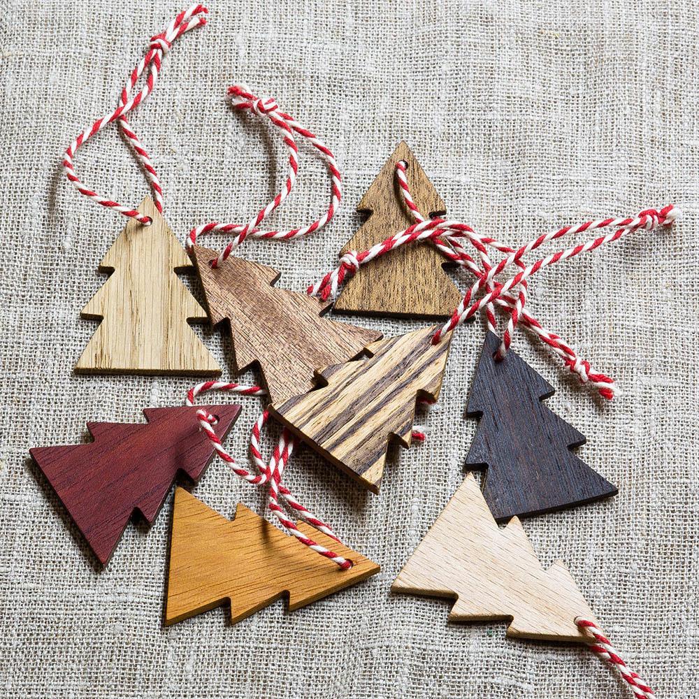 Набор елочных украшений из ценных пород древесины в эко стиле. 8 штук TW-Decor