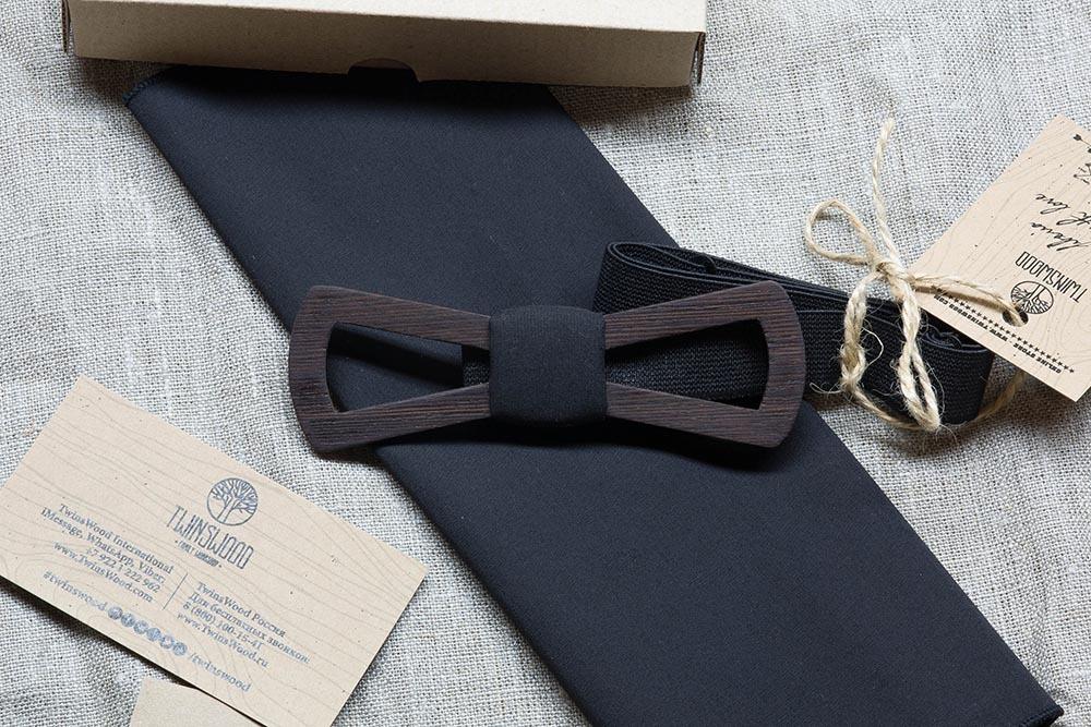 Деревянная бабочка Армстронг Slim Fresh + черный платок для кармана пиджака