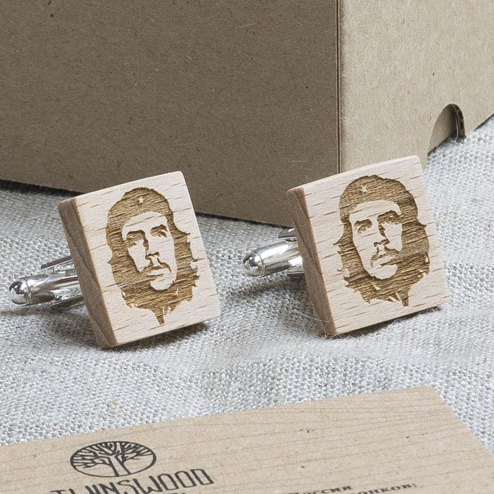 Квадратные запонки из дерева с силуэтом Че Гавара. Массив бука WC-Che1