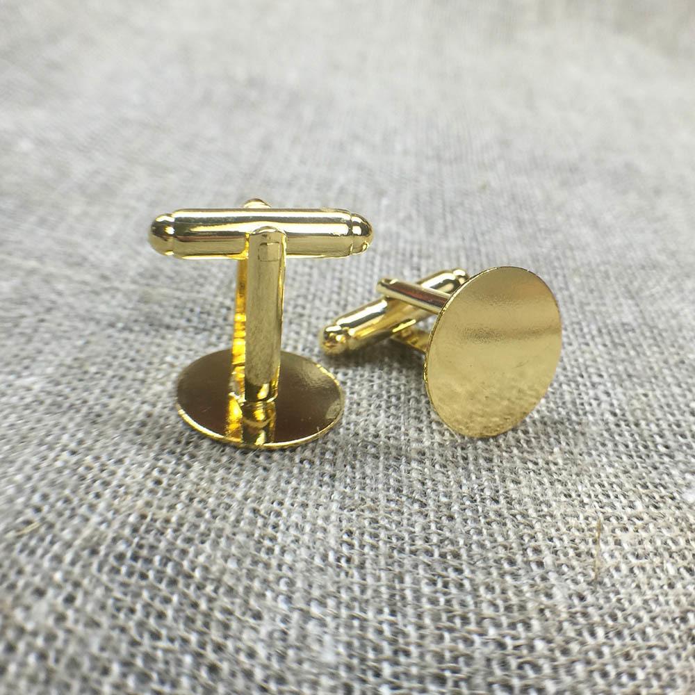 Основа для запонок (пара). Цвет - золото. Диаметр 15 мм. Фурнитура для запонок. Металлические основы для изготовления запонок TW-GoldGufflinksBase