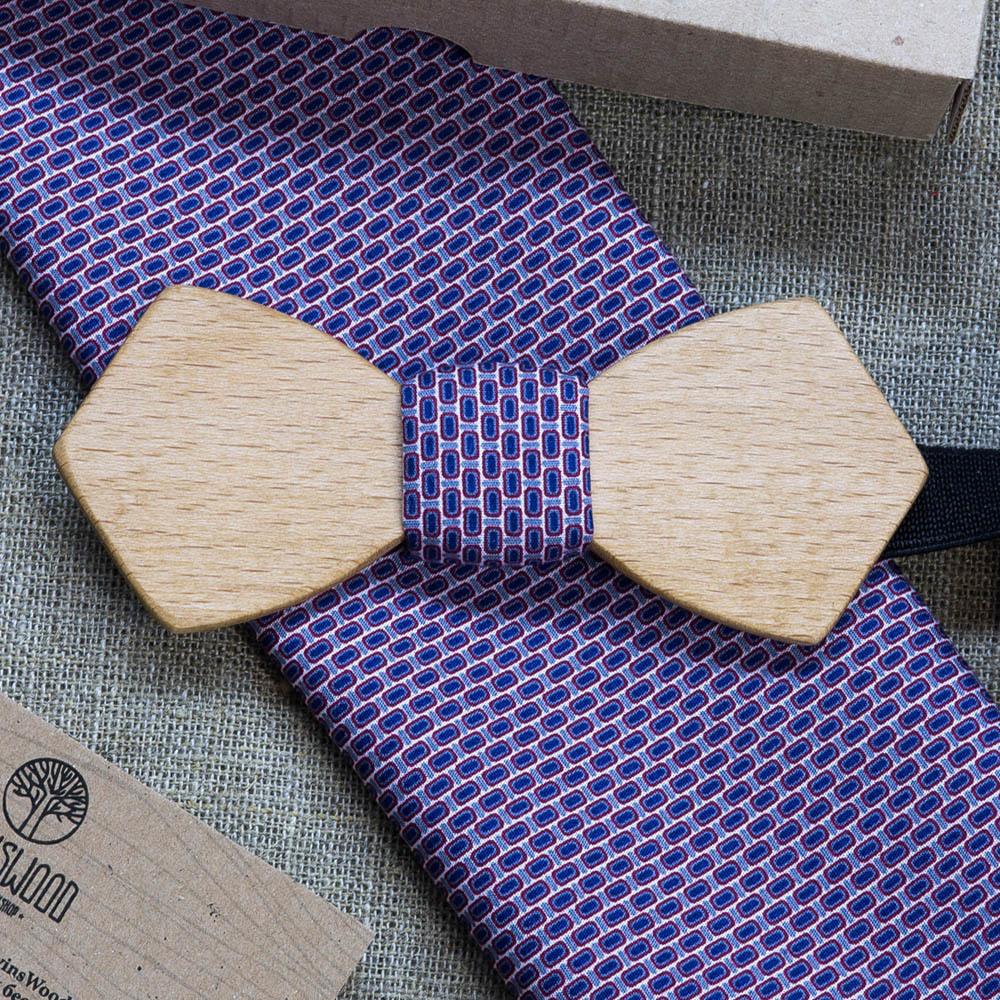 Мужская галстук-бабочка Николай Ретро из древесины бука + платок для кармана пиджака TBT-NikolayRetro