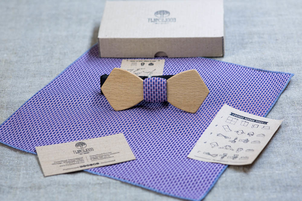 Мужская галстук-бабочка Николай Ретро из древесины бука + платок для кармана пиджака