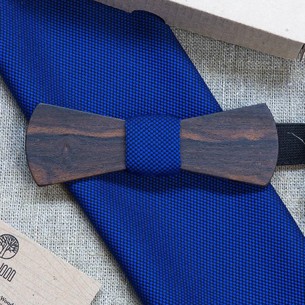 Мужская бабочка из дерева Ельцин Слим  + платок для кармана пиджака. Гравировка TBT-ElcinSlim