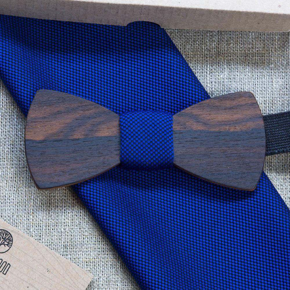 Мужская бабочка из дерева Ельцин Классик  + платок для кармана пиджака. Гравировка TBT-ElcinClassic