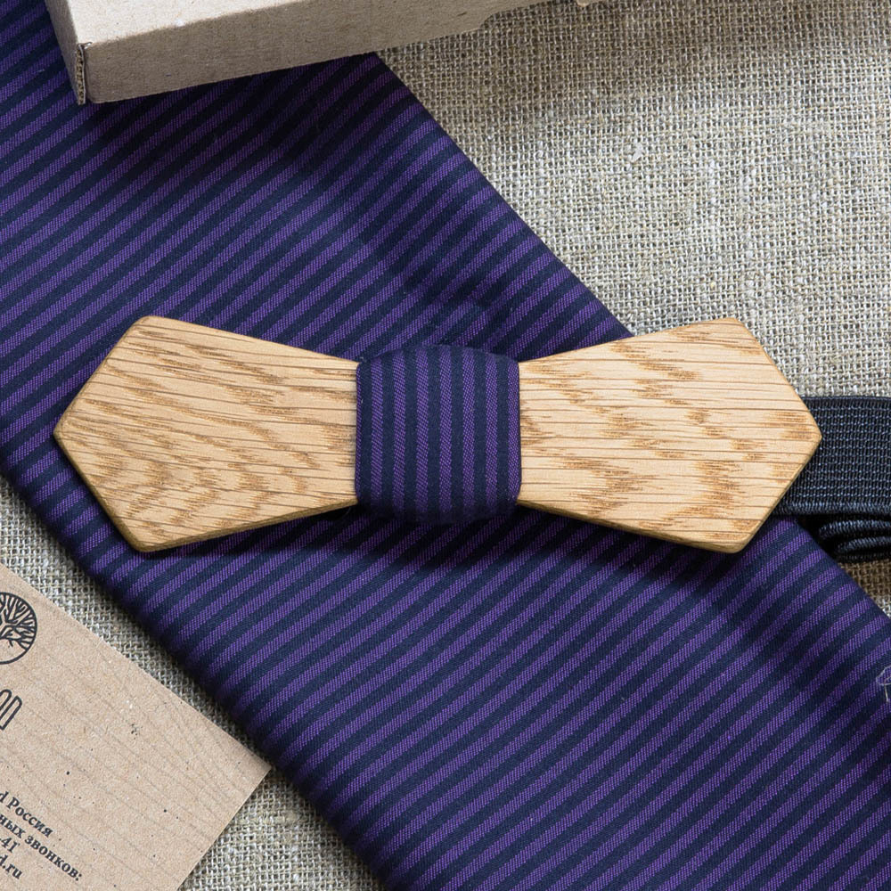 Мужской галстук-бабочка из дерева Артем Retro + платок TBT-ArtemVintage