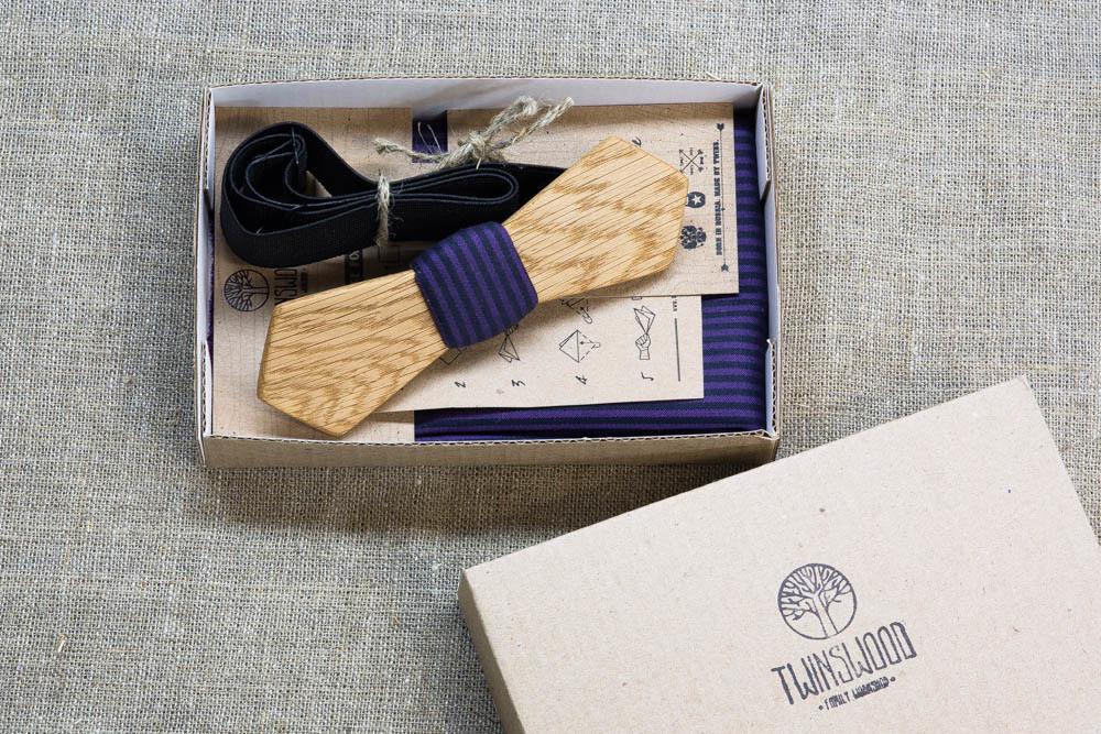 Мужской галстук-бабочка из дерева Артем Retro + платок