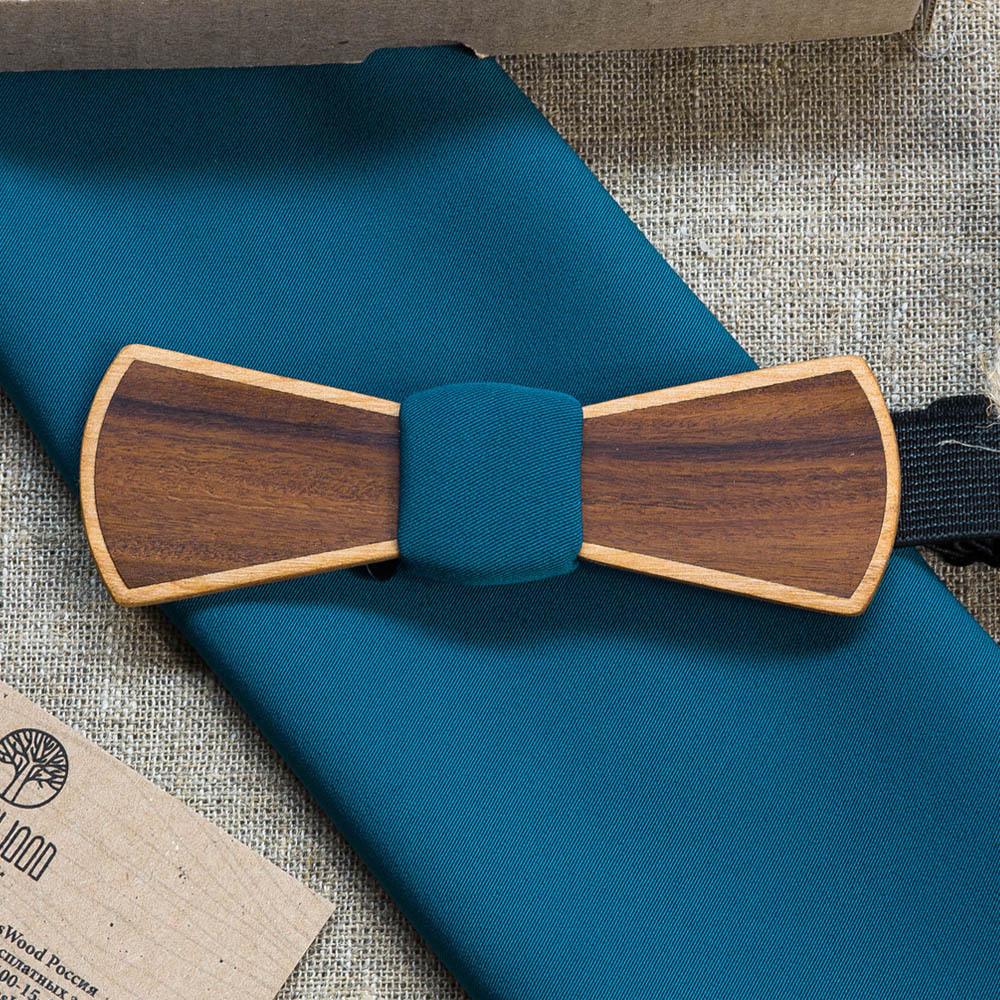 Галстук-бабочка Slim из двух сортов дерева Ольха + Палисандр. В комплекте платок для пиджака TBT-DoubleSlim2