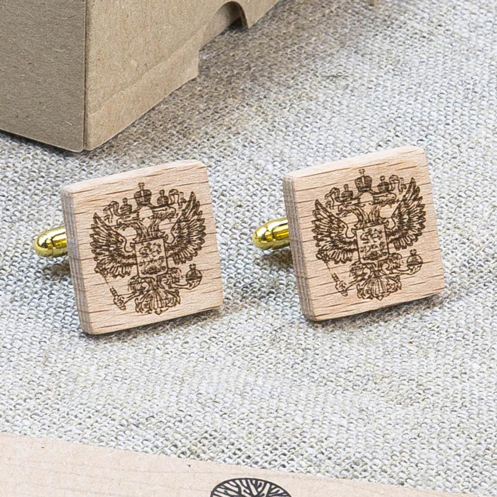Квадратные деревянные запонки из бука с гравировкой - Герб России WC-RussiaSqr