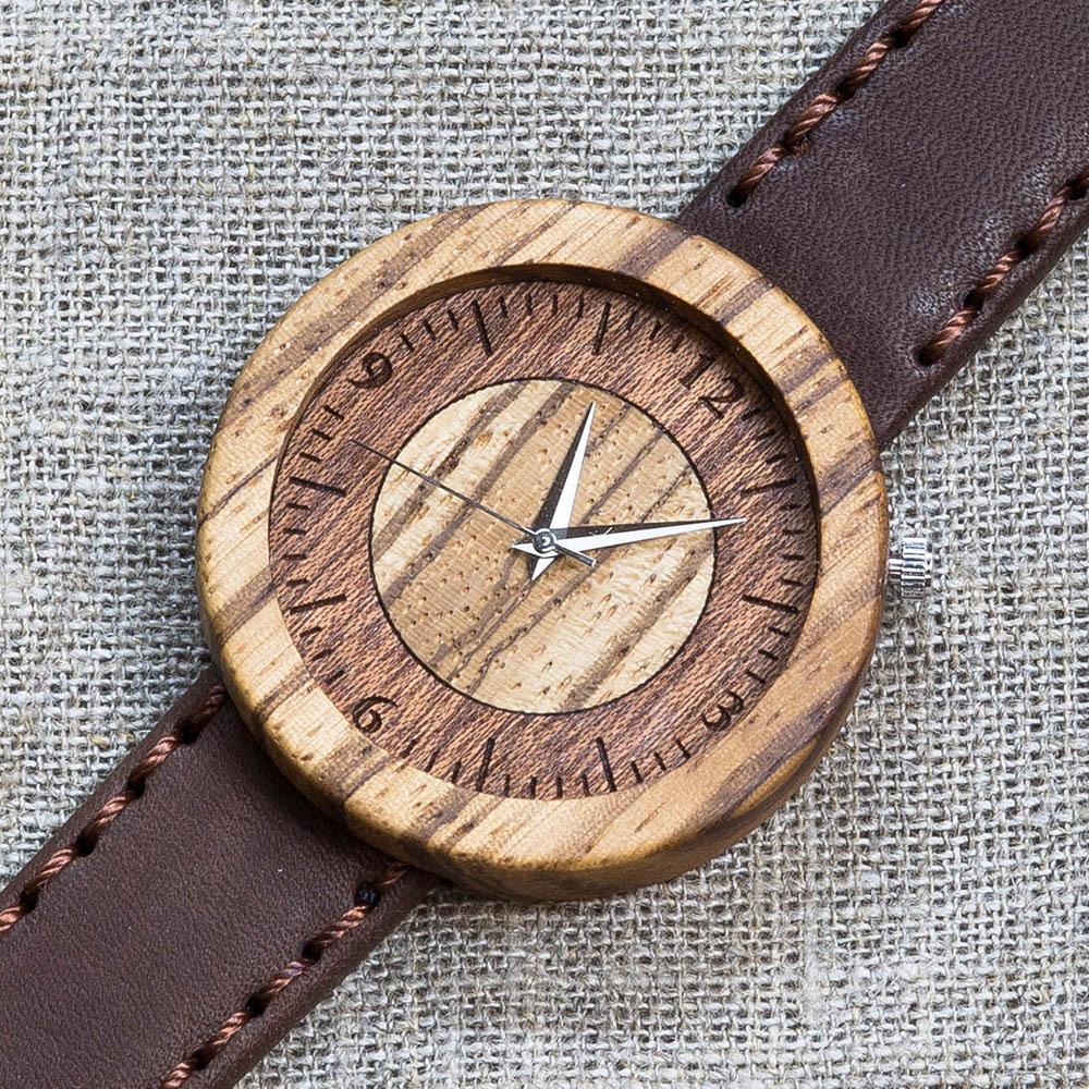 Деревянные часы Гавана 8. Корпус - зебрано. Циферблат - сапеле и зебрано. Коричневый матовый премиум ремешок ручной работы из настоящей кожи. Персональная гравировка TW-LaHabanaNew8