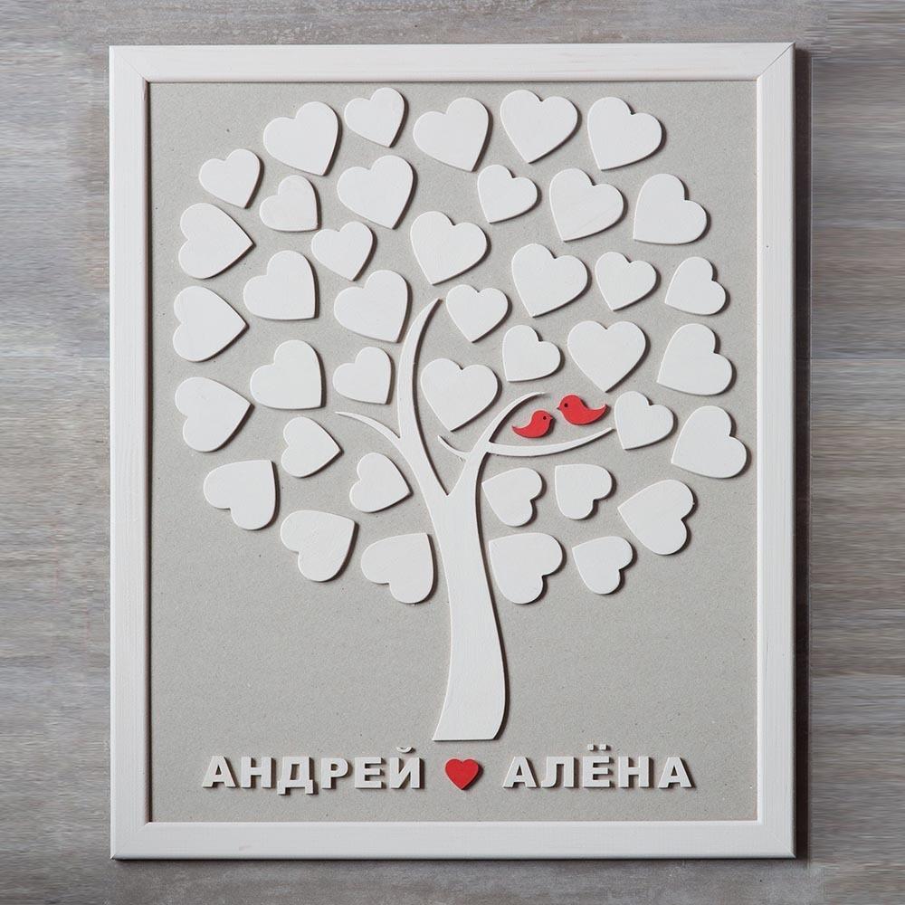 Дерево пожеланий для жениха и невесты на свадьбу на 40 сердец в кроне. Свадебный подарок. Свадебный декор TW-WeddingGuestbook40