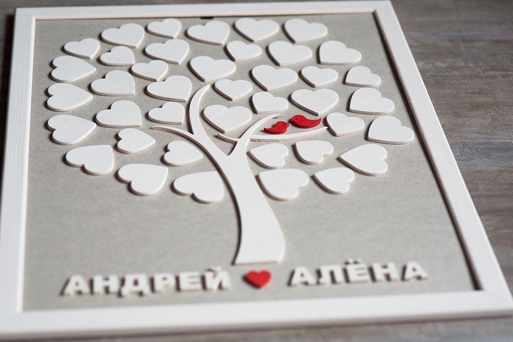 Дерево пожеланий для жениха и невесты на свадьбу на 40 сердец в кроне. Свадебный подарок. Свадебный декор
