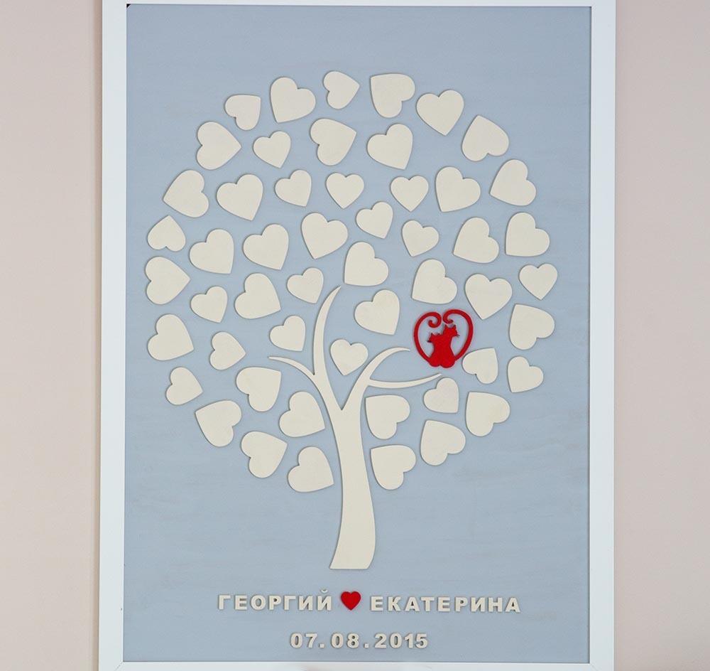 Дерево пожеланий для жениха и невесты на свадьбу на 50 сердец в кроне. Свадебный подарок. Свадебный декор
