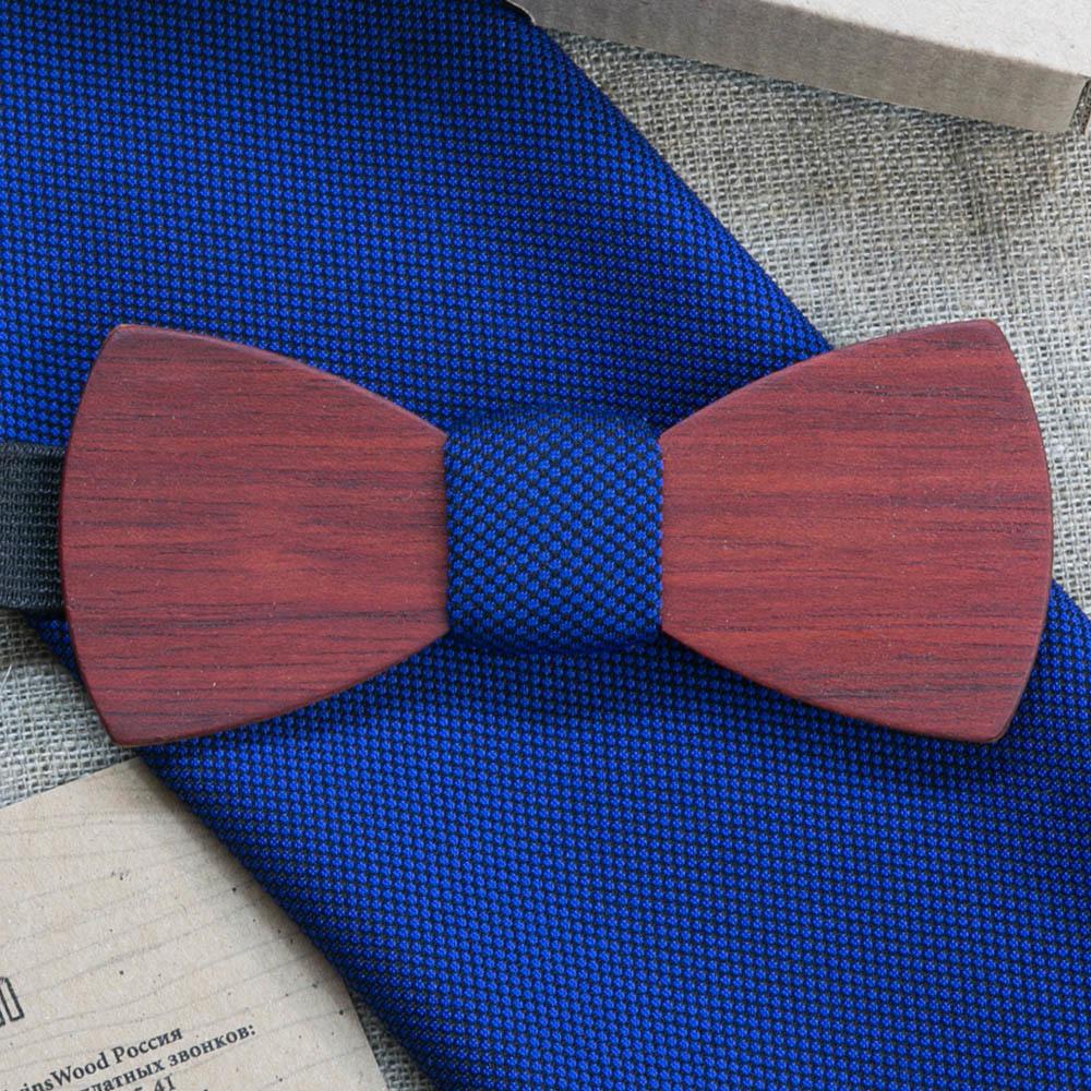 Галстук-бабочка из ярры Трамп Классик. Синий платок для кармана пиджака в комплекте. Лазерная гравировка TBT-TrumpClassic