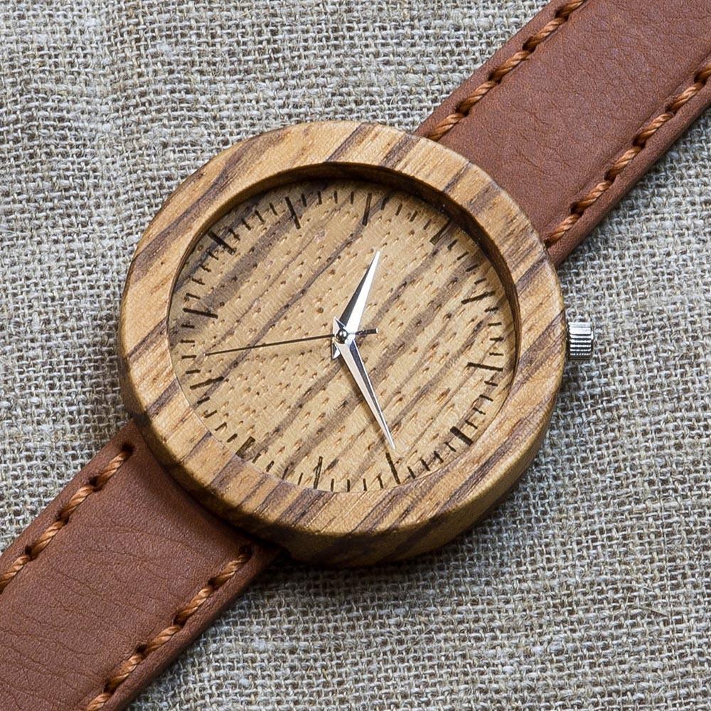 Деревянные часы Каир 6. Корпус - зебрано. Циферблат - зебрано. Терракотовый премиум ремешок ручной работы из настоящей кожи. Персональная гравировка TW-Cairo6