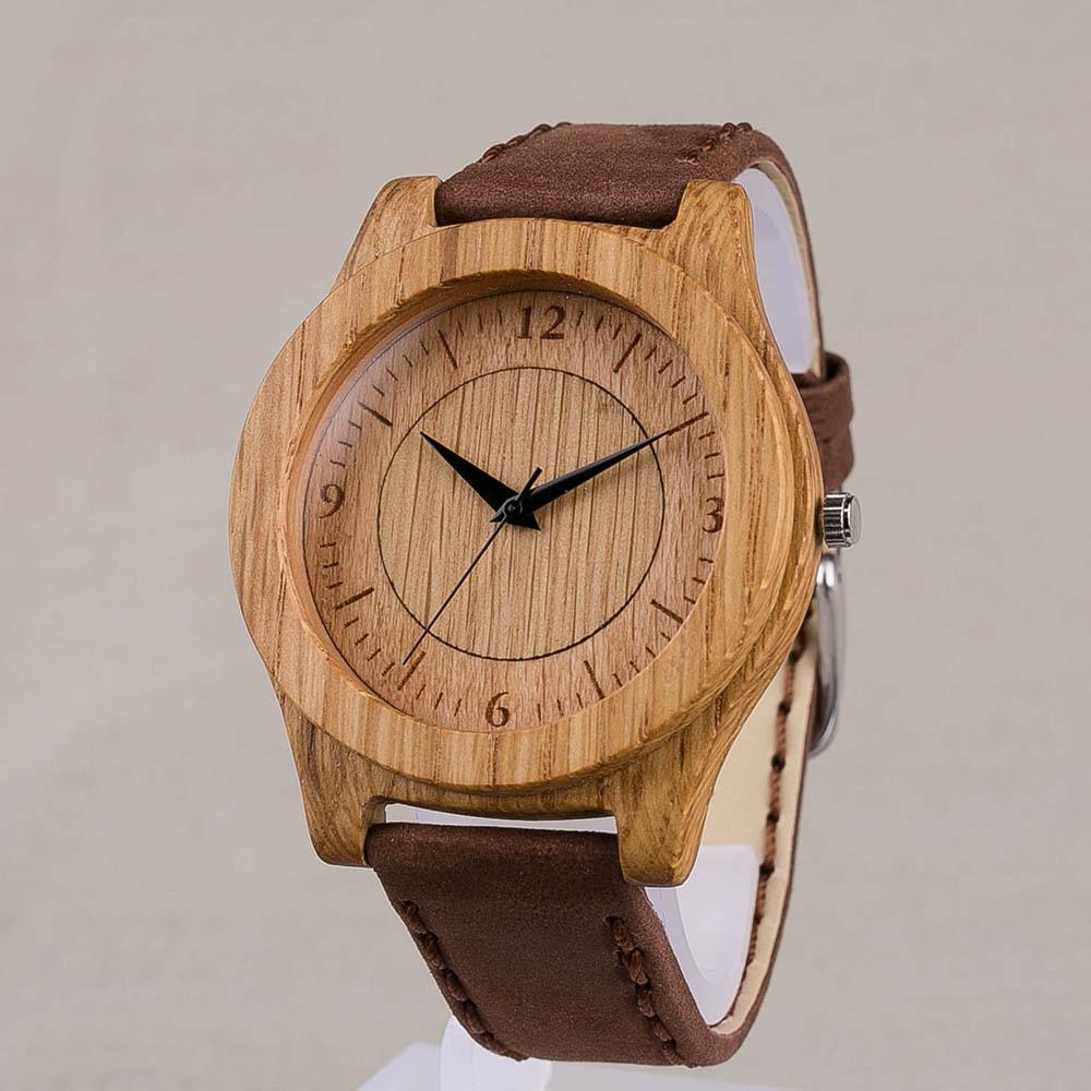 Дизайнерские наручные часы из дерева. Корпус - дуб. Размер 45 мм. Циферблат - бук и дуб. Коричневый матовый ремешок из настоящей кожи. Персональная гравировка TW-OakOak