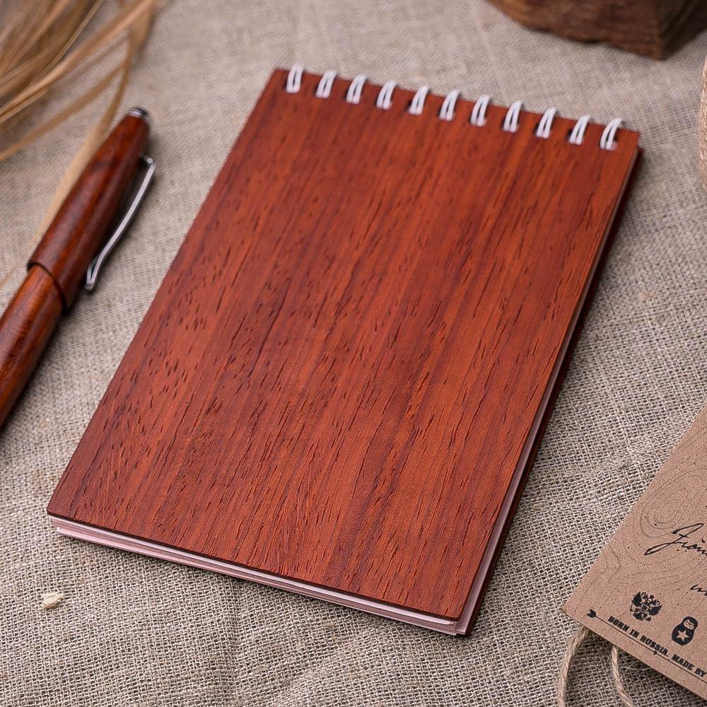 Блокнот для записей с обложкой из дерева. Натуральный падук. Гравировка имени или рисунка TW-Notebook-Padauk1
