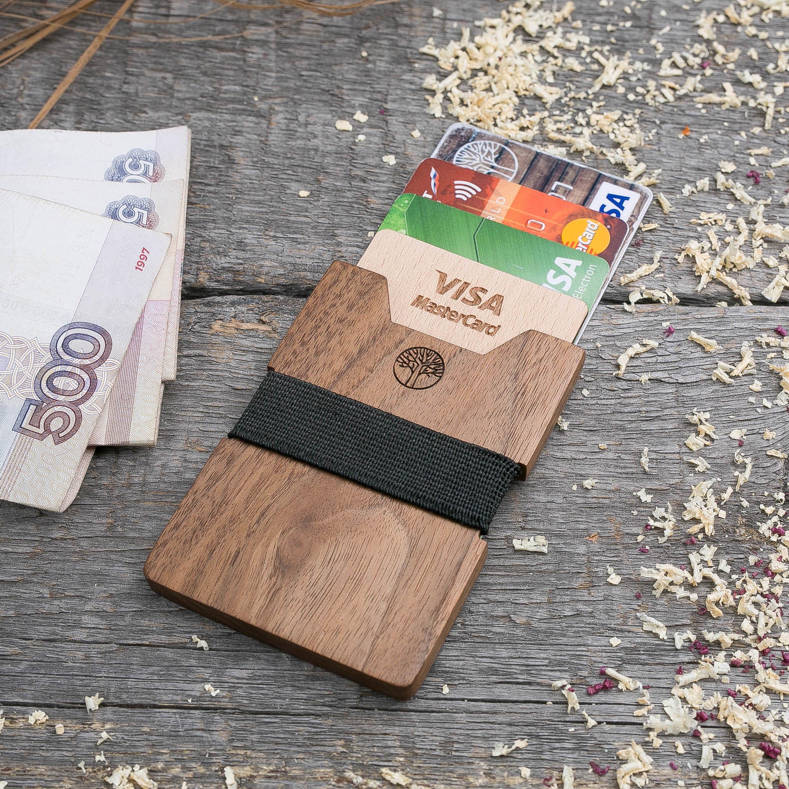Деревянный кошелек из американского ореха. Вертикальная загрузка. Для 1-6 пластиковых карт и купюр. Поддержка Apple Pay. Гравировка имени или логотипа. Бизнес сувенир. Подарок другу. Именной кошелек TwinsWallet-WalnutV