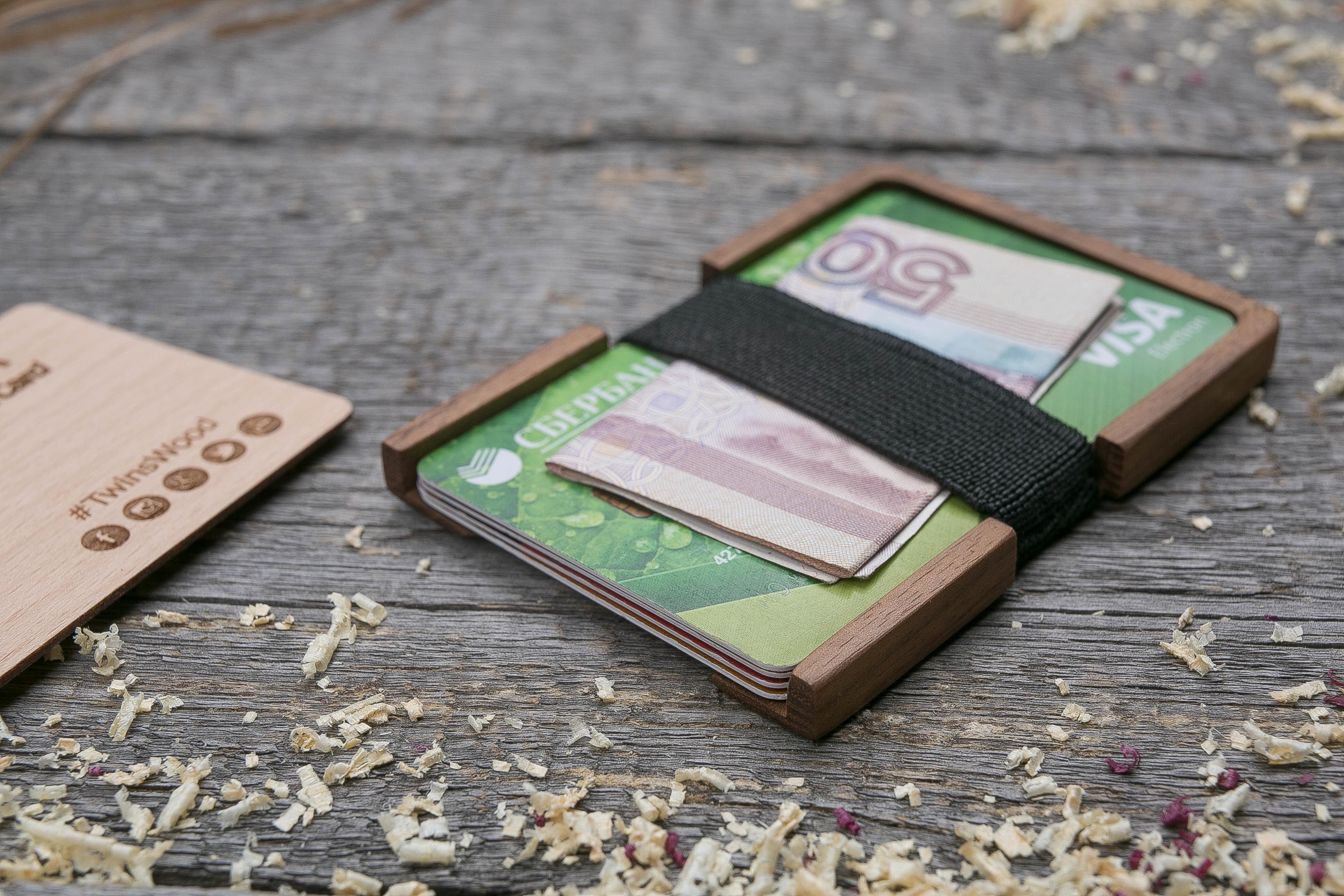 Деревянный кошелек из американского ореха. Вертикальная загрузка. Для 1-6 пластиковых карт и купюр. Поддержка Apple Pay. Гравировка имени или логотипа. Бизнес сувенир. Подарок другу. Именной кошелек