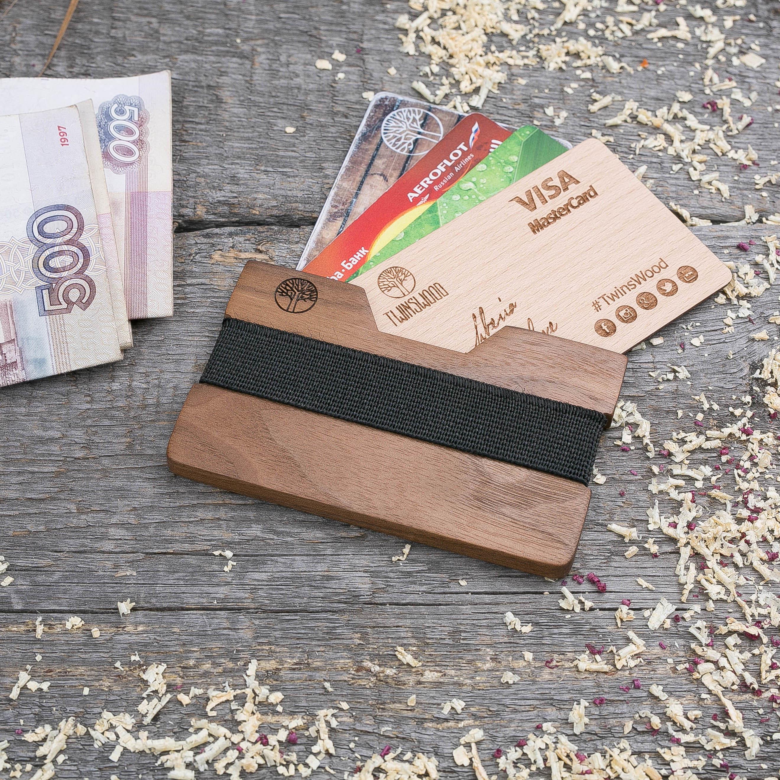 Деревянный кошелек  из ореха. Горизонтальная загрузка. Для 1-6 пластиковых карт и купюр. Поддержка Apple Pay. Гравировка имени или логотипа. Бизнес сувенир. Подарок другу. Именной кошелек TwinsWood-WalnutH