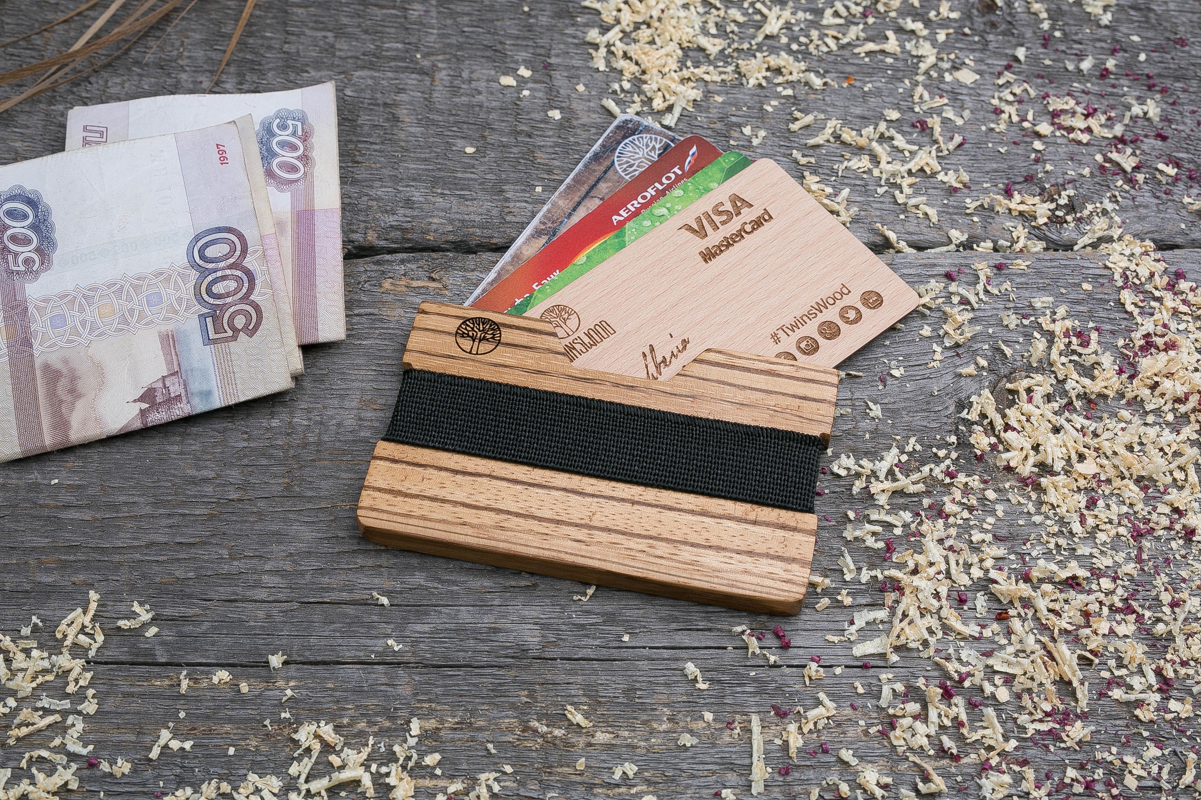 Деревянный кошелек  из зебрано. Горизонтальная загрузка. Для 1-6 пластиковых карт и купюр. Поддержка Apple Pay. Гравировка имени или логотипа. Бизнес сувенир. Подарок другу. Именной кошелек