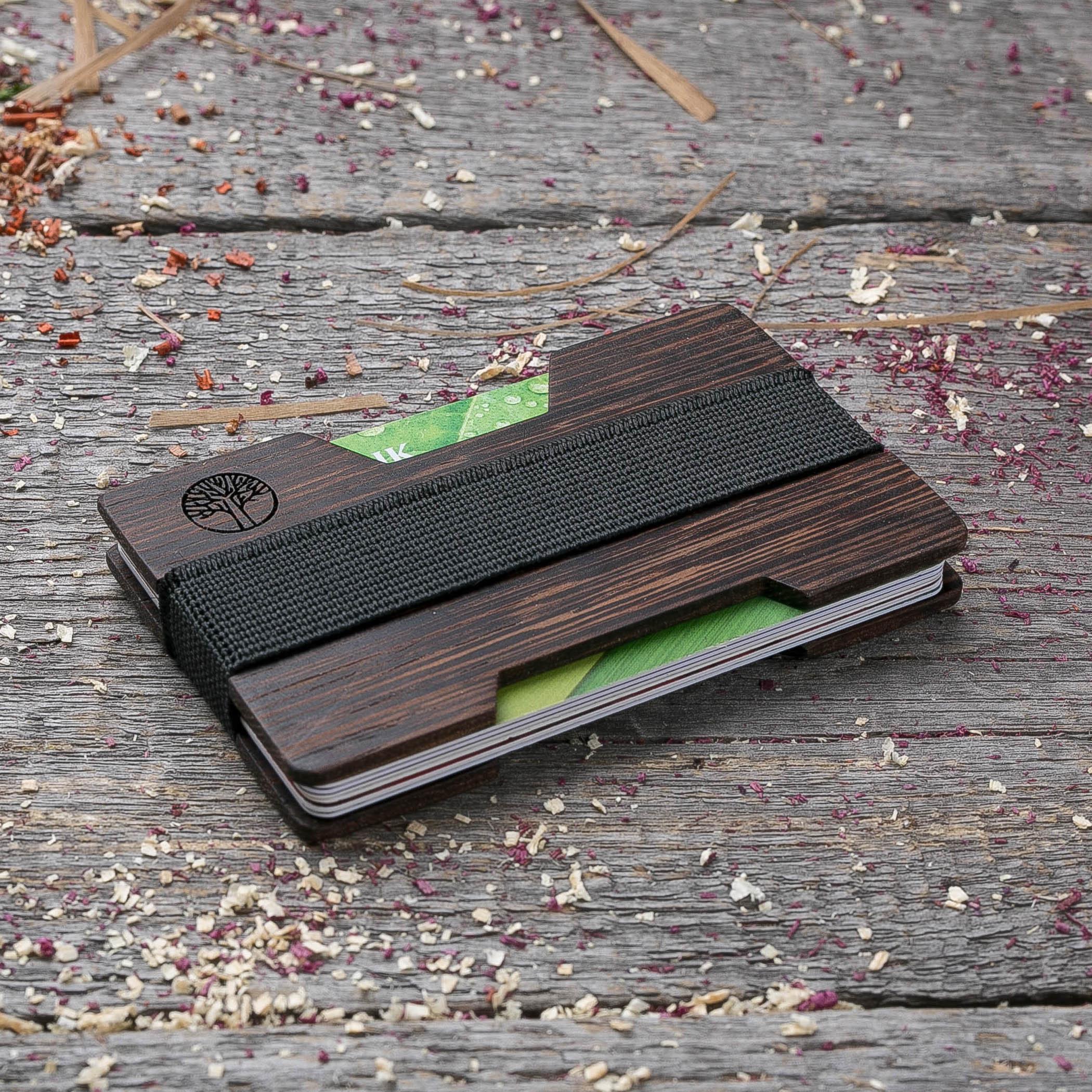 Мини кошелек-кардхолдер из дерева. Массив венге. Для 1-15 пластиковых карт и купюр. Подарок другу или бизнес партнеру, именной кошелек. Гравировка имени или логотипа + открытка из дерева TwinsMiniWallet-WengeH