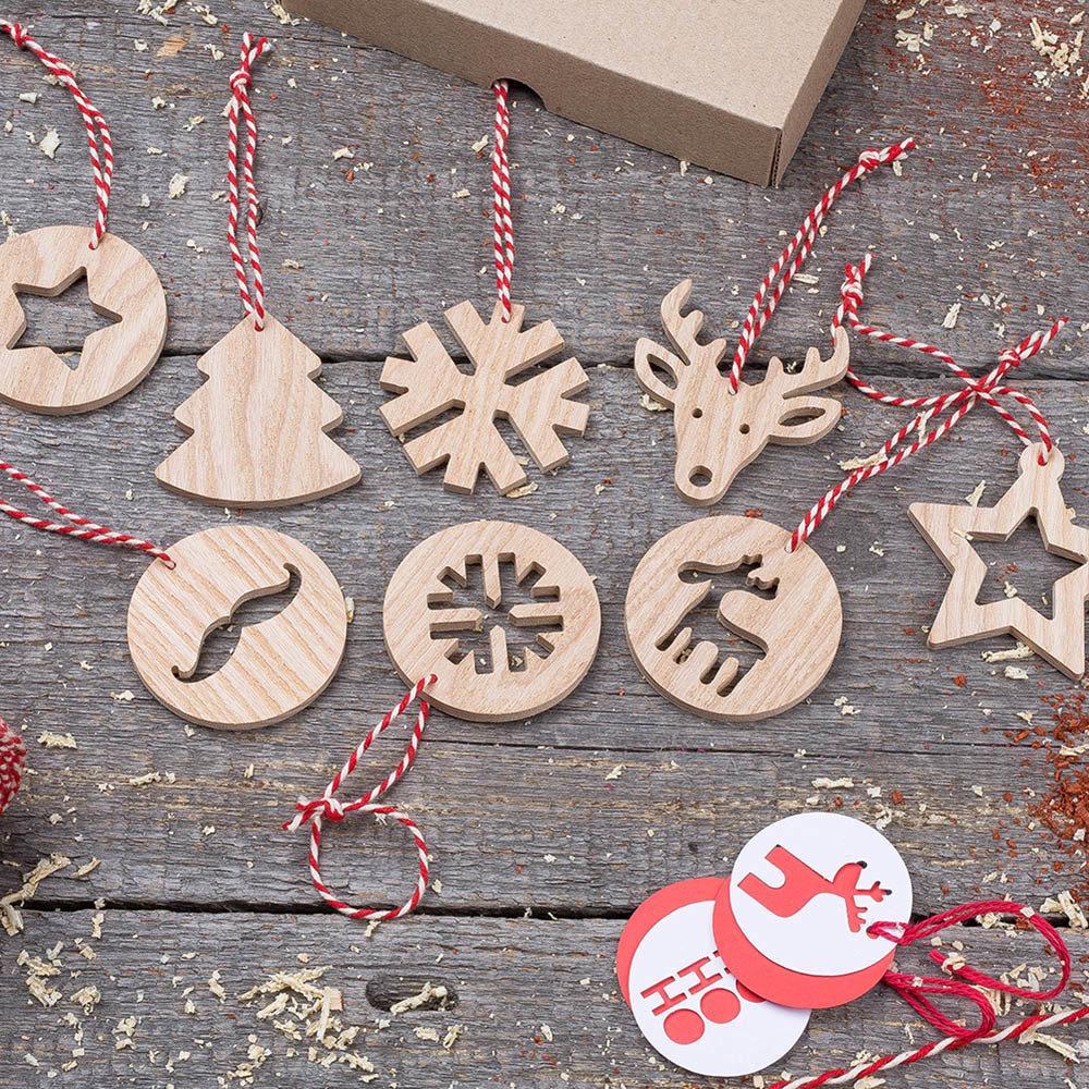 Деревянные елочные игрушки набор 8 штук. Настоящая древесина. Гравировка логотипа. Корпоративный подарок. Бизнес сувенир 2018. Подарок на новый год TW-Christmas8