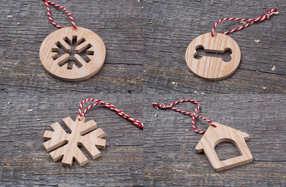 Деревянные игрушки для новогодней елки Символ Года. Набор 12 штук. Гравировка логотипа. Корпоративный подарок. Бизнес сувенир 2017. Подарок на новый год