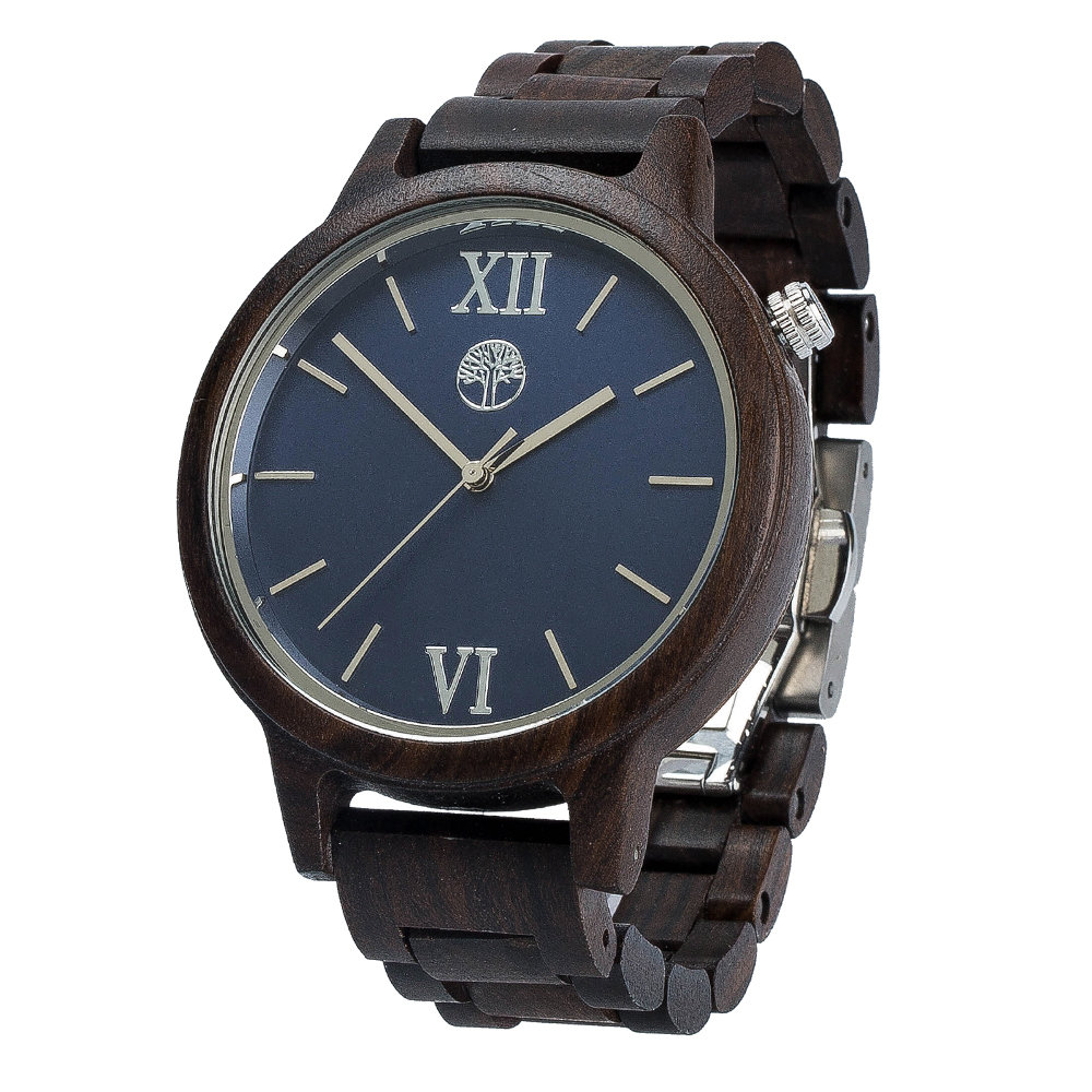Унисекс часы из дерева TwinsWood Taiga. Черный сандал 45 мм. Серебряные акценты TwinsWatch-TaigaBlackSandal-PreOrder