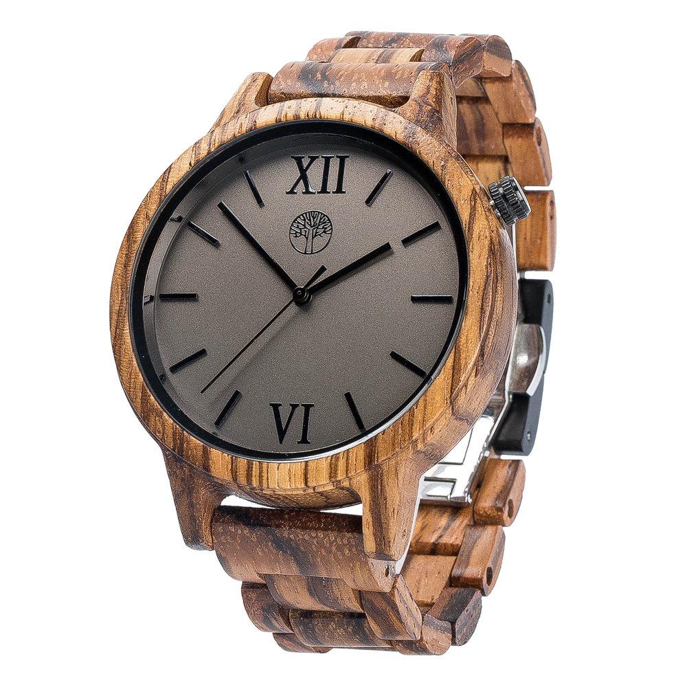 Деревянные унисекс часы TwinsWood Taiga из зебрано 45 мм. Деревянный браслет из зебрано 18 мм. Фирменная коробка из сосны. Гравировка на задней крышке и коробке TwinsWatch-TaigaZebrano