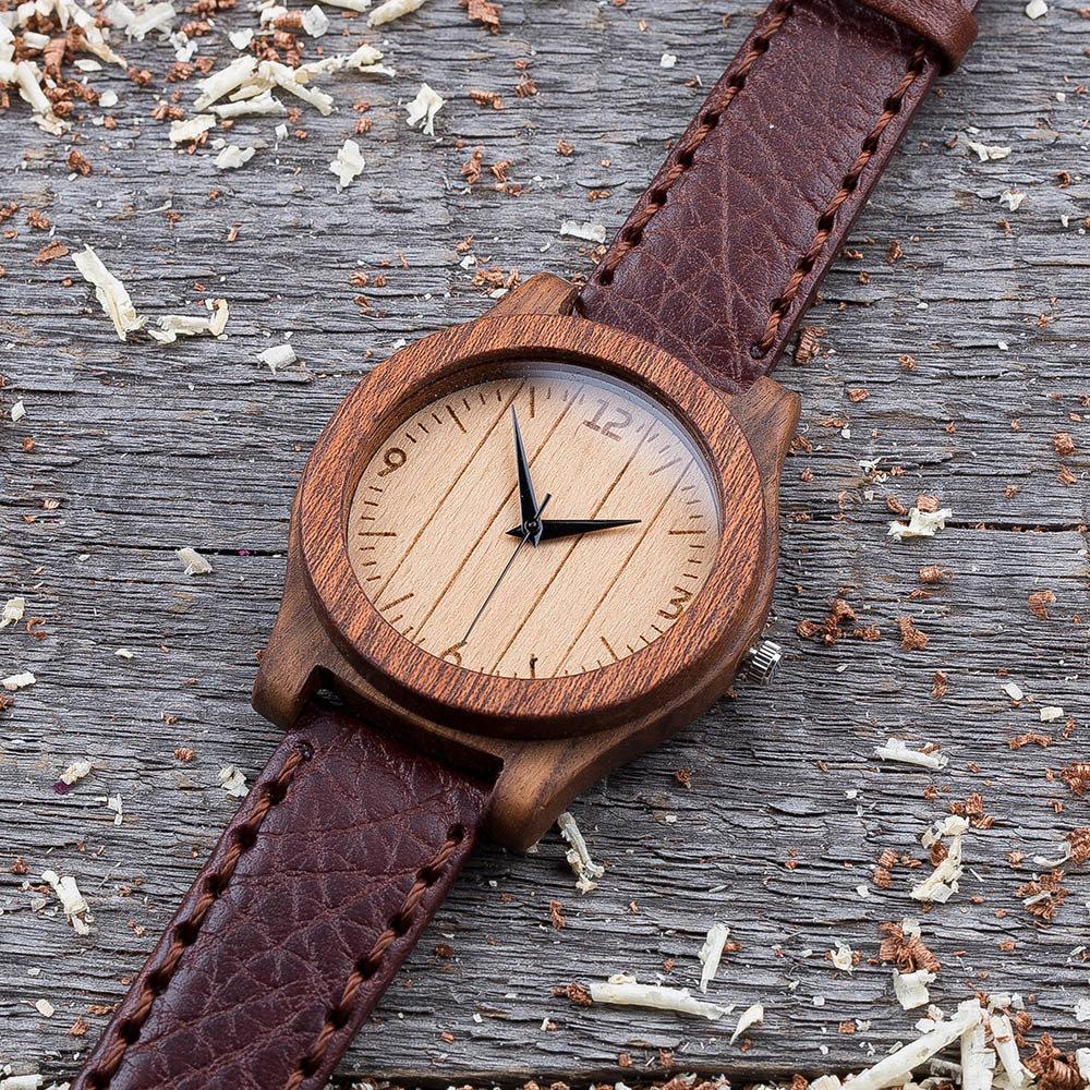Деревянные часы  45 мм. Массив палисандра и сапеле. Коричневый глянцевый премиум ремешок из кожи. Любая гравировка на циферблате и задней крышке + открытка из дерева TwinsWatch-RosewoodSapeleBrownGlow